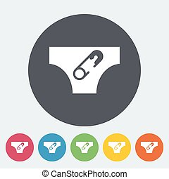 Diaper icon. Flat vector related icon for web and mobile...