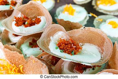 Thai Style Crisp Tart or Khanom Bueang. - Khanom Bueang,...