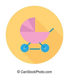 Pram icon. Flat vector related icon with long shadow for web...