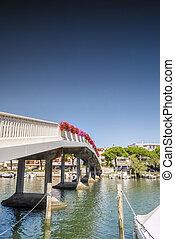 Pedestrian bridge in Grado city center, Italy - Pedestrian...
