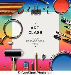 Art class template, creativity concept
