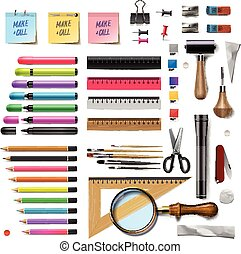 Set of office supplies on white background, vector...