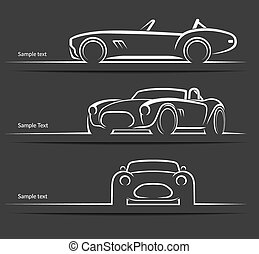 Set of vintage classic sports car vector silhouettes - Set...