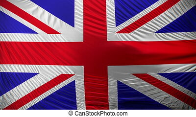 Waving flag of Great Britain - Closeup of United Kingdom of...