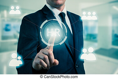 businessman points to icon-HR, recruitment and chosen...