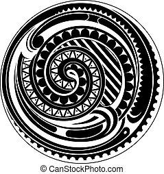 tatuaje, círculo,  maorí