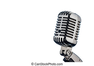 retro microphone in front of a white background - an old...