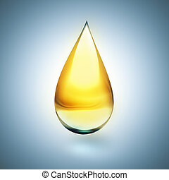oil drop with soft shadow on light background