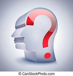 unknown person - head with question mark on a light...