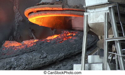 a vat of hot iron - Metallurgical plant in the enterprise