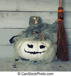 Halloween greeting card - Halloween photo of pumpkin with...