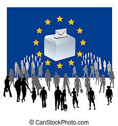 European elections - an urn on a European flag European...