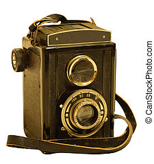 retro TLR (Twin-lens reflex) photo camera isolated on white...