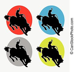 Rodeo cowboy logo - Rodeo man riding horse silhouette logo....