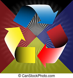 Basic colors-Recycle - Illustration of the three primary...