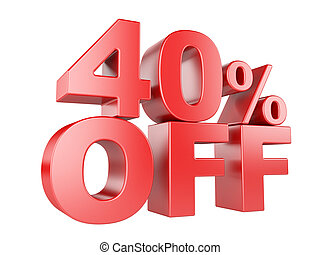 40 percent off 3d icon. - 40 percent off icon isolated on...