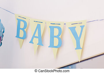 baby shower word - baby shower sweet candy bar on table