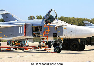 Bomber - Russian bomber parked at a military airbase for...