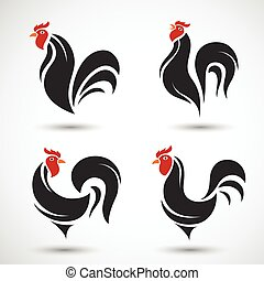 Rooster and cock hand drawn sketch on white background