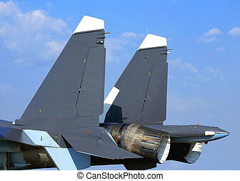 Tail-plane of the military aircraft - Back of the fighter...