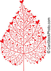 heart tree - heart leaf silhouette, vector