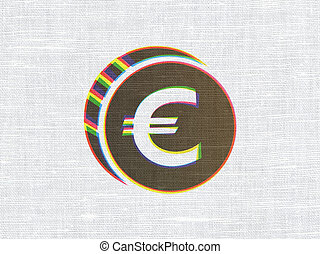 Currency concept: Euro Coin on fabric texture background