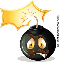 Bomb with angry face