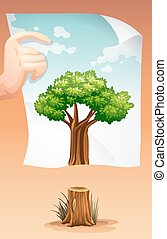 Save the world theme with wood and paper illustration