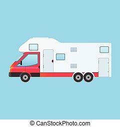 Camping RV trailer family caravan
