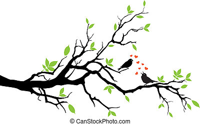 spring - love birds sitting on a tree, vector