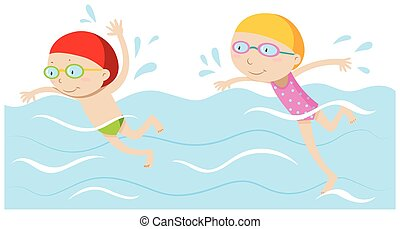 Boy and girl swimming in the pool