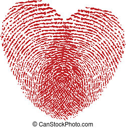 two in love - fingerprint heart, vector