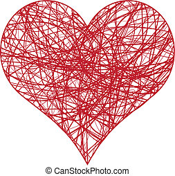 scribble heart - heart scribble with lines texture, vector