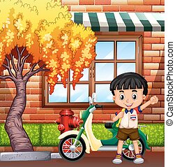 Little boy and motocycle on street illustration