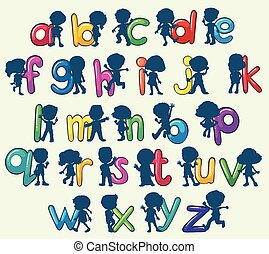 Children with English alphabets illustration