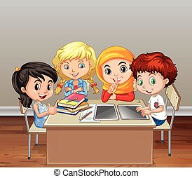Children working in group in classroom illustration