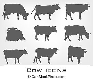 set of cow icons - set of nine icons of cows on a gray...