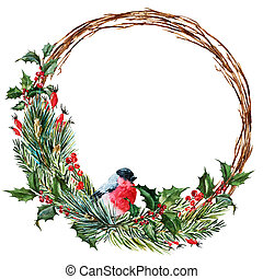 Raster watercolor christmas wreath - Beautiful raster image...