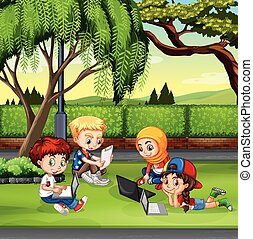 Children working in the park illustration