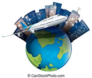 Airplane flying around the world illustration