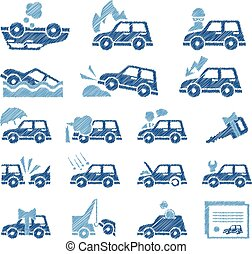 Car Insurance Icons Set Vector Illustration in Flat Style -...