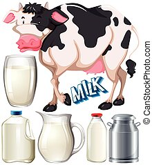 Dairy products with cow and fresh milk illustration