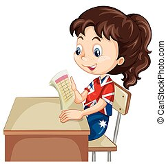 Girl reading document on the desk illustration