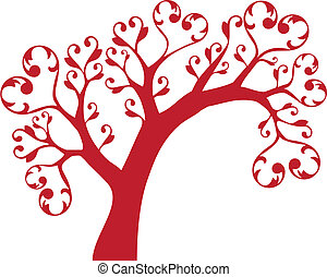 tree with hearts - ornamental tree with heart swirls