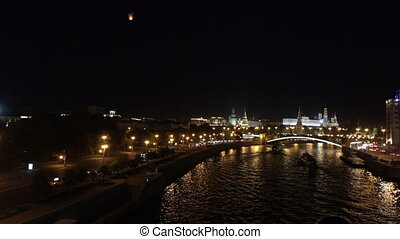 Night view of the Moskva River, Bridge and the Kremlin:...