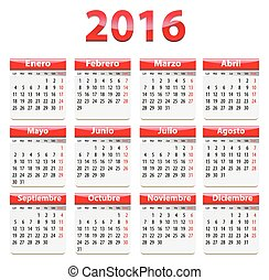 2016 Spanish Calendar - Red glossy calendar for 2016 year in...