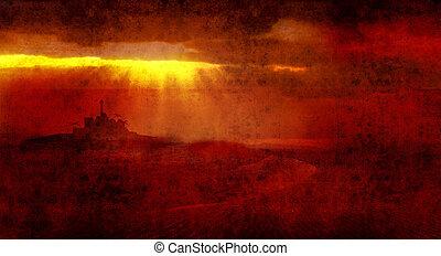 bethlehem rays across desert - heavenly light over bethlehem