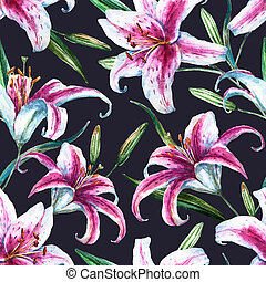 Raster tropical watercolor lilly pattern - Beautiful raster...