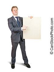 Businessman pointing at blank canvas - Businessman in...