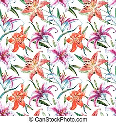 Vector tropical watercolor lilly pattern - Beautiful vector...